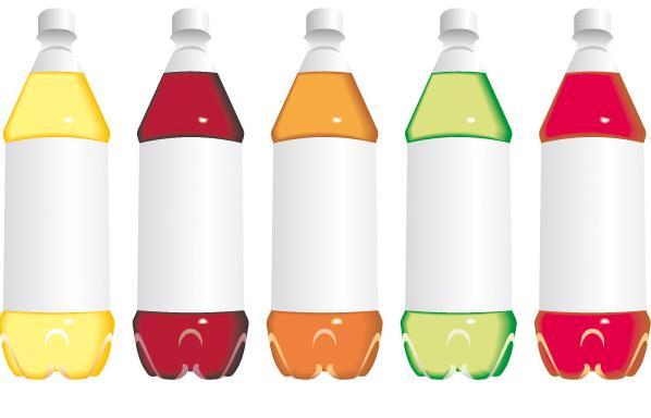 Векторные пластиковые бутылки с прохладительными напитками.  Формат EPS.